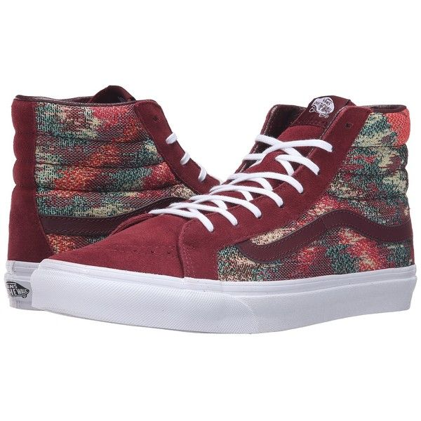 afd492f8b3 Vans SK8-Hi Slim ((Italian Weave) Port Royale Multi) Skate Shoes ( 70) ❤  liked on Polyvore featuring shoes