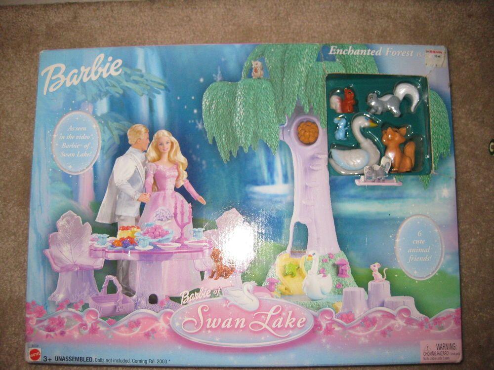 2003 Barbie of Swan Lake ENCHANTED FOREST PLAYSET NRFB B0239 Tree Pond Swing #Mattel #PetsAnimals