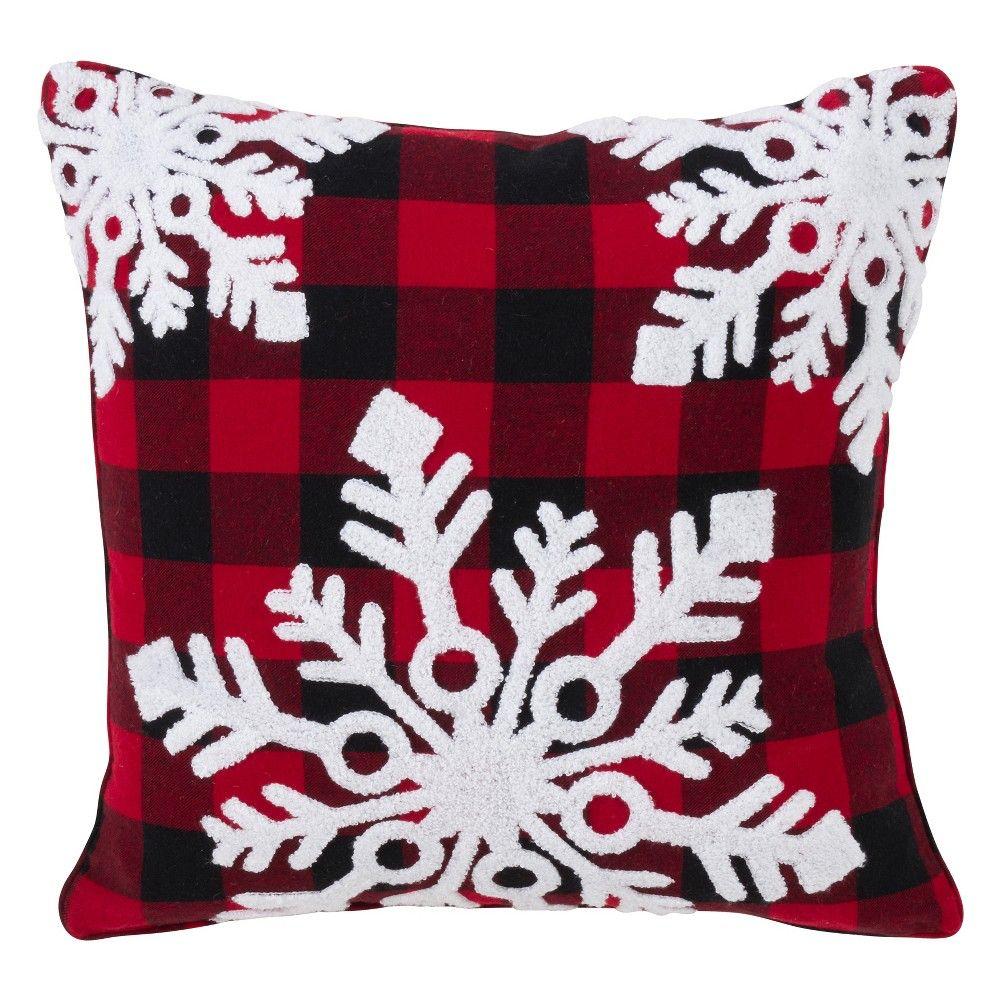 Buffalo Plaid Snowflake Square Throw Pillow Red Saro