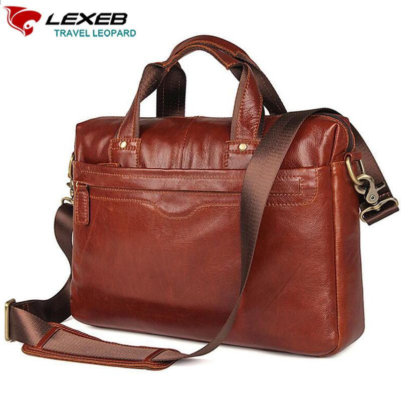 c0e8973e2 LEXEB Brand Full Grain Leather Men's Briefcase 15 Inches Laptop Bag High  Quality Casual Everyday work