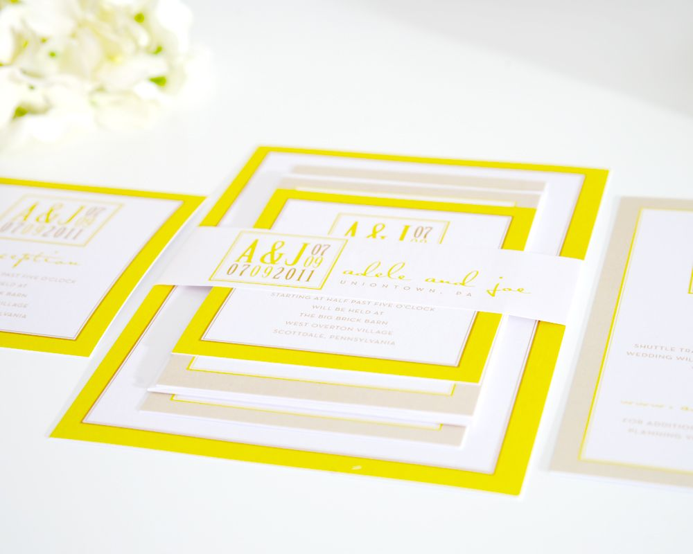 Bright yellow wedding invitations.  Fun!