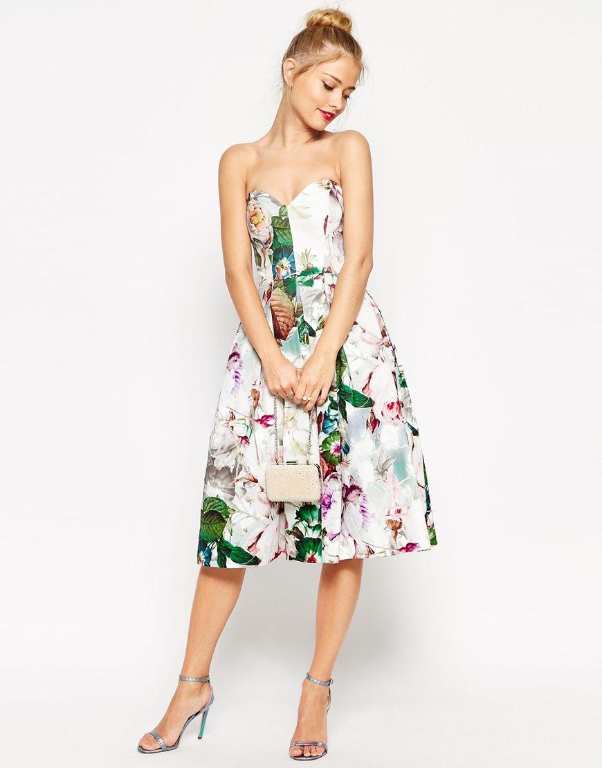 prom rose floral Asos Yaya midi dress bandeau Wedding pretty aqCRvxZp