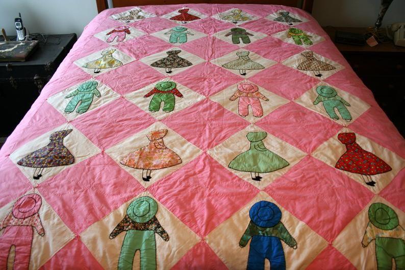 Vintage Sun Bonnet Sue and Overall Sam Handmade Quilt Hand Quilted #sunbonnetsue Vintage Sun Bonnet Sue and Overall Sam Handmade Quilt Hand | Etsy #sunbonnetsue