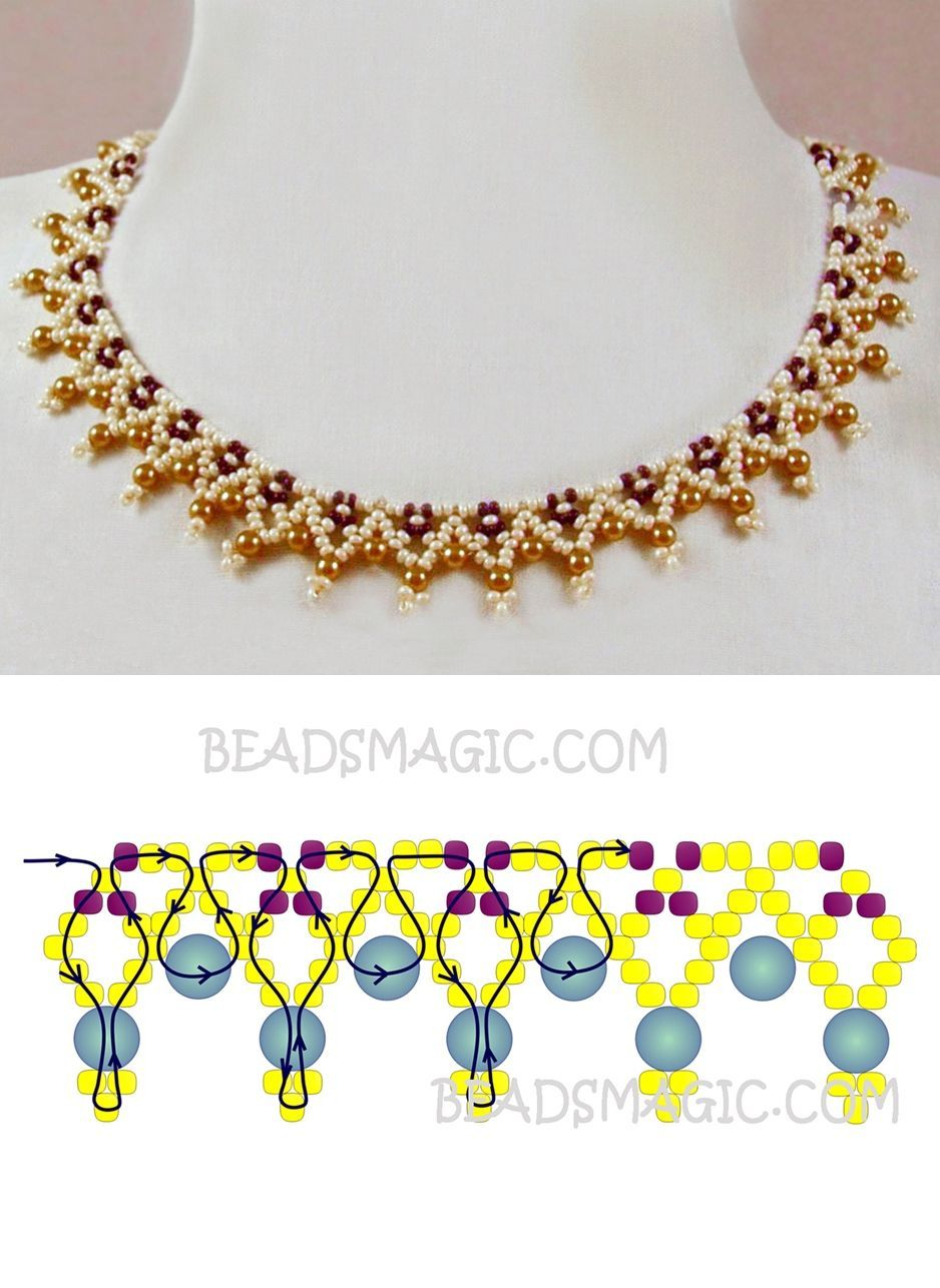 Free pattern for necklace Miranda seed beads 11/0 pearl beads 4 mm ...