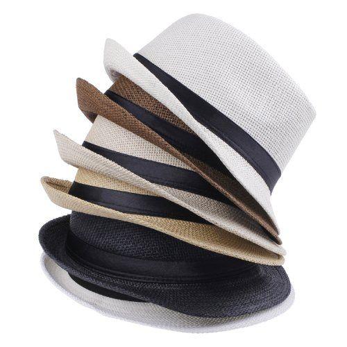 EOZY Para Mujer Hombre Paja De Lino Playa Sol Panamá Sombrero ( 5Color  Crema) a44417cadd3