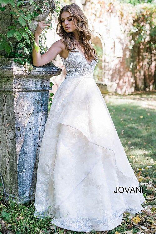 Ivory A-Line Embellished V-Neck Bodice Wedding Gown JB39540