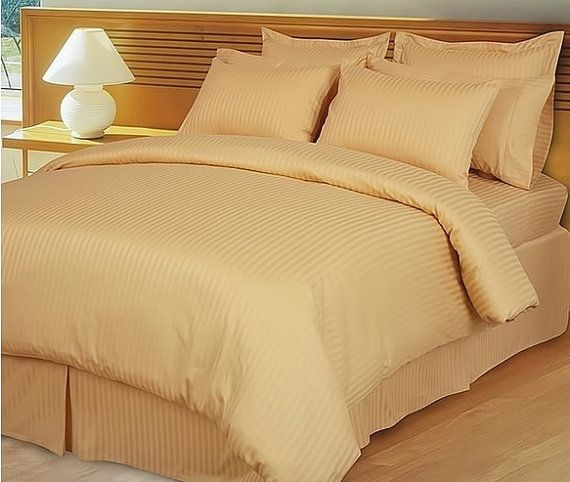 1000 TC Egyptian Cotton Extra Deep Pocket Bedding Items US Sizes Gold Stripe