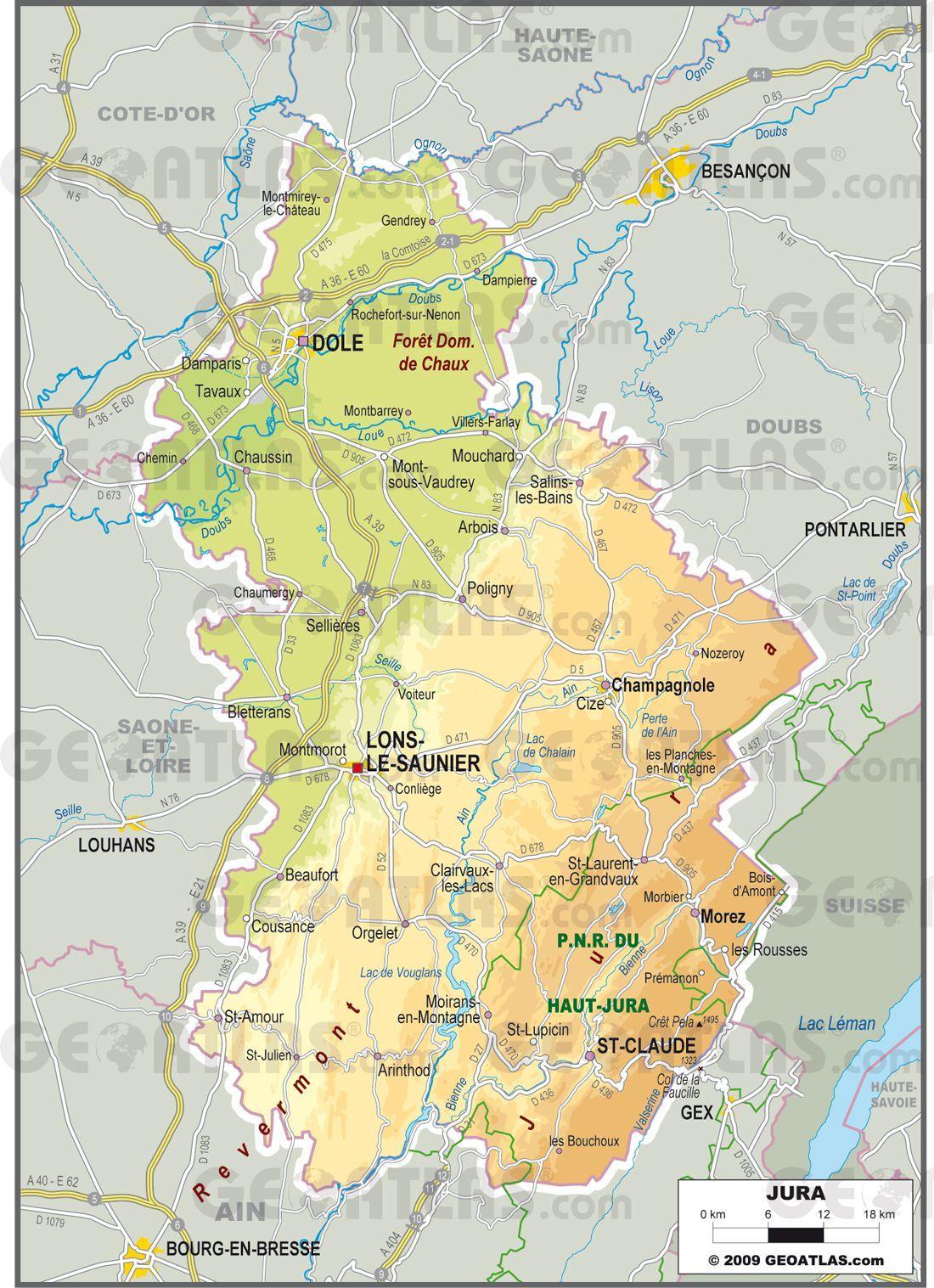 Carte Du Jura Villes Relief En 2021 Jura France Carte Jura Carte Touristique