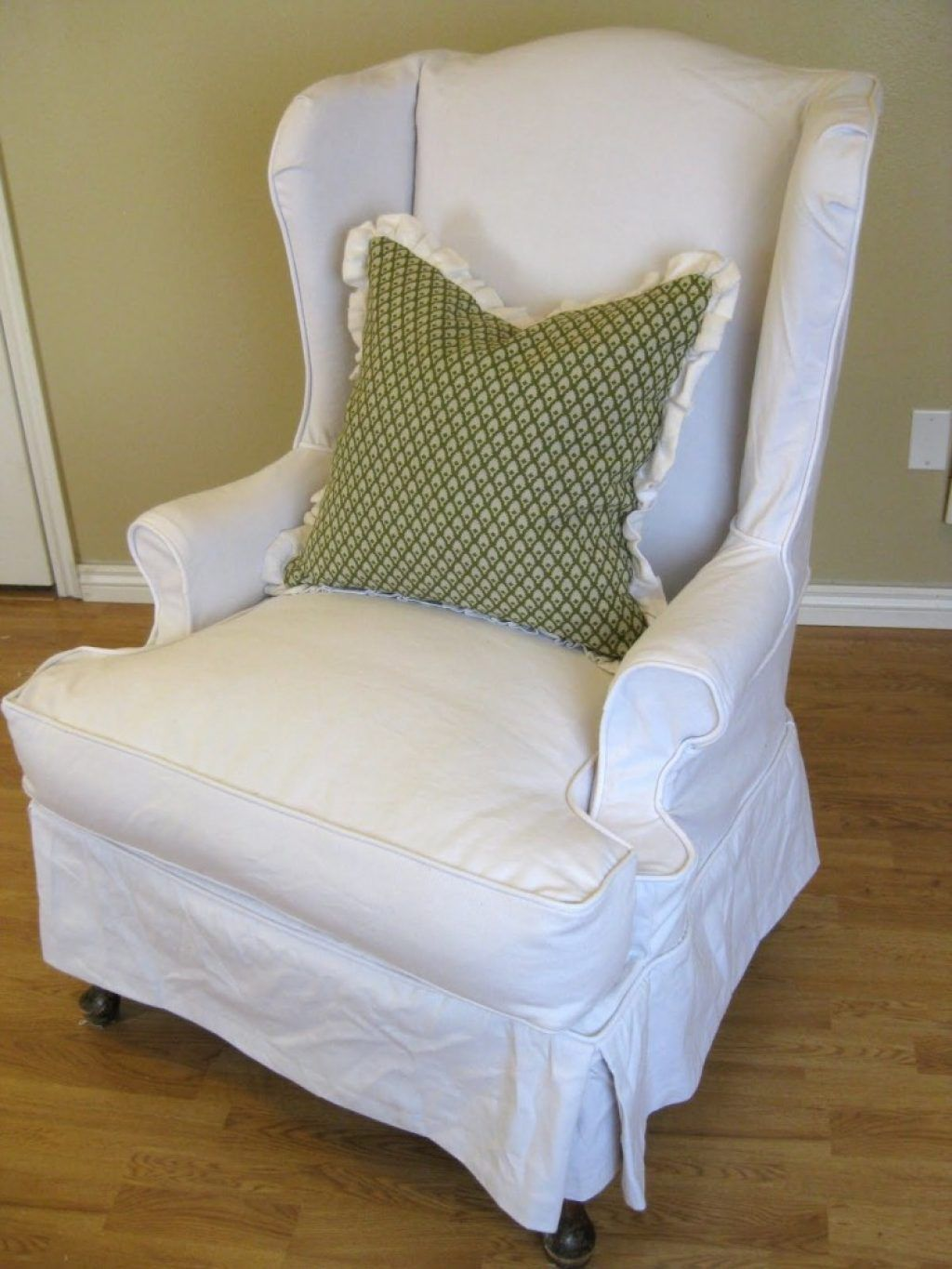 Superbe Awesome Skirted White Wing Back Chair Slipcover Combined Contemporary Green  Cushion With Sure Fit Slipcovers Wingback