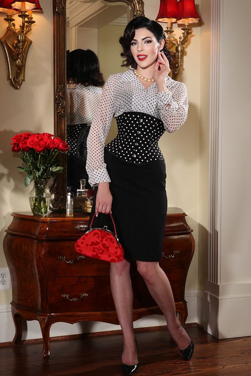 Black Pencil Skirt Black Underbust Corset With White Dots Sheer White  Blouse Sheer Stockings and Black High Heels 326950717