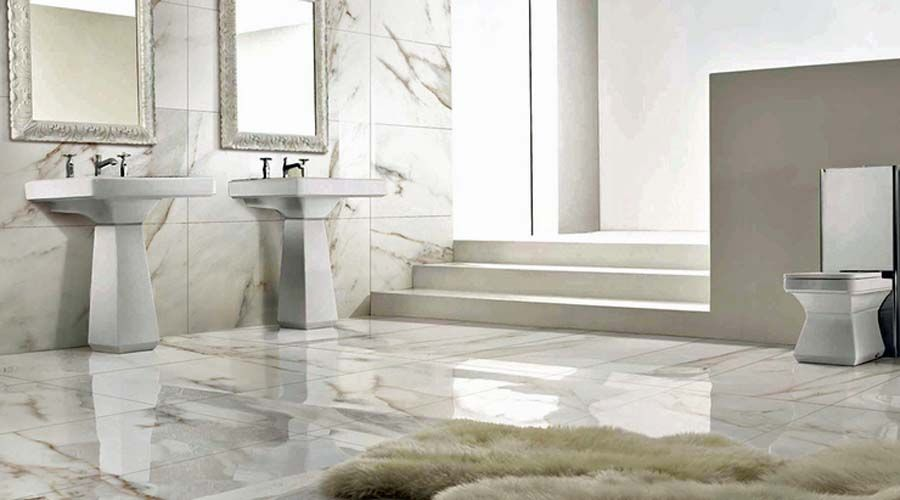 White Carrara Marble Tiles Work Well With This Elegant Period Bathroom The Are Actually Ultra Thin Large Format Porcelain By Porcel