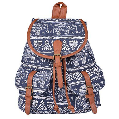 Women/'s Canvas Elephant Print Backpack Ruchsack Bookbags Shoulder Bag Sacthel