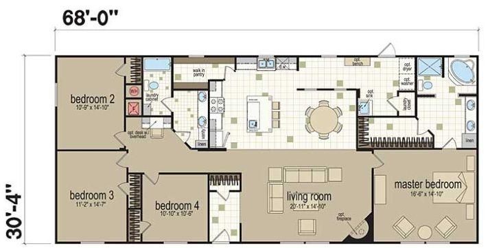 4 Br 2 Ba Manufactured Homes Floor Plans Mobile Home Floor Plans Modular Home Plans