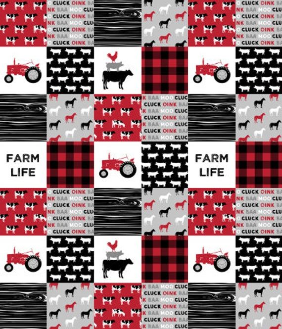 Photo of Farm Life Red Black Baby Boy Bedding-cow tractor barn yard horses pigs sheep rooster- curtains sheet skirt rail guard quilt baby blanket