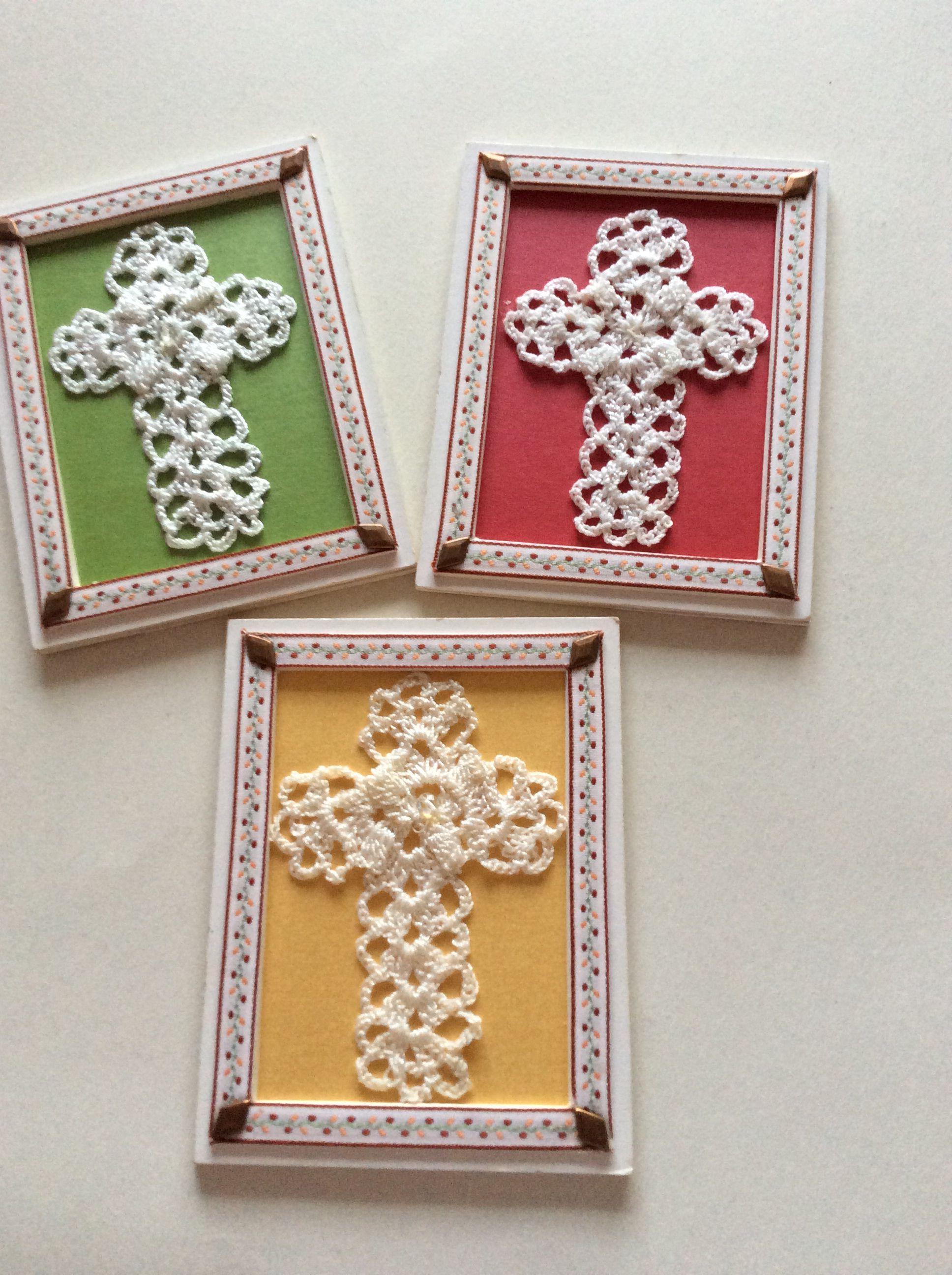 76e44136fde recuerdos para Bautizo o Primera Comunion! cruces tejidas en crochet e hilo  de seda!(MAROGAR)