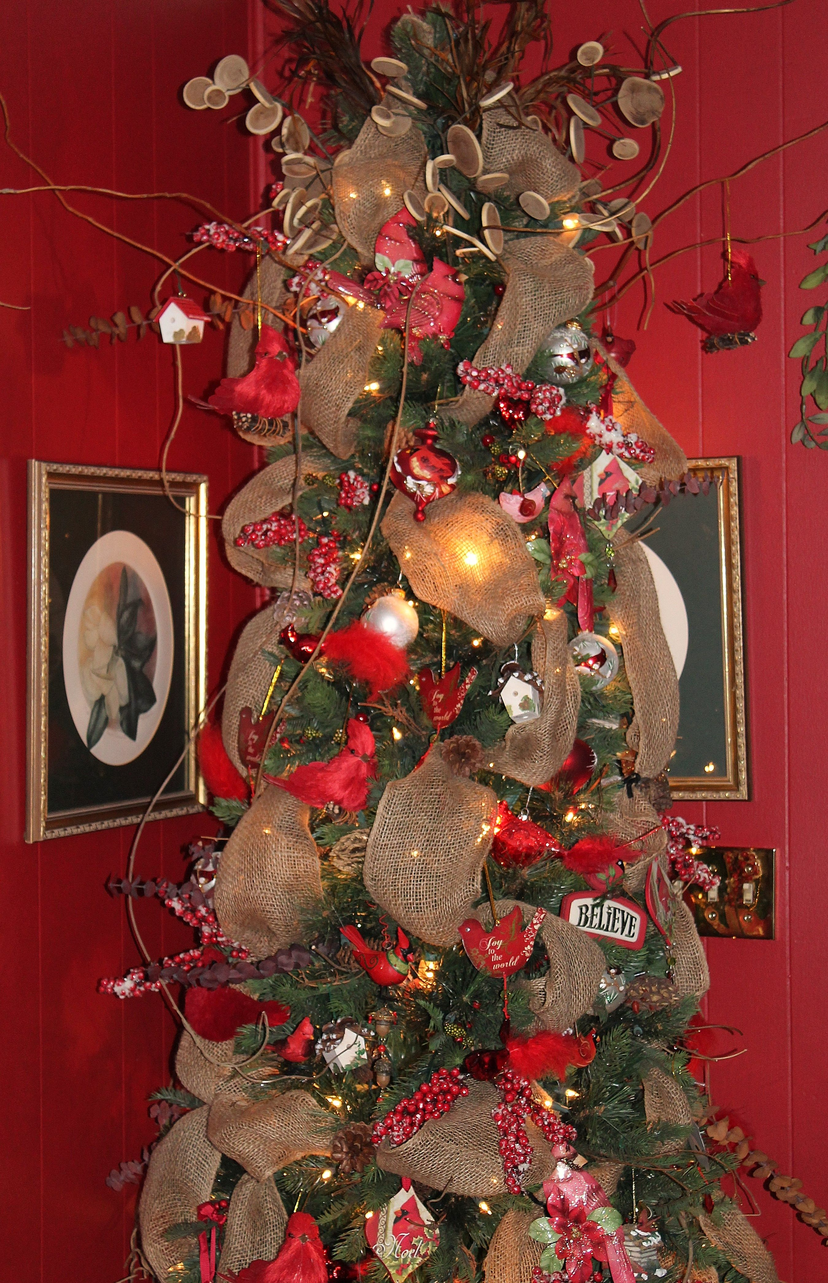 Tree In Memory Of My Mother And Father Simple Tree With Burlap Snow Covered Red Berries Wisteria Xmas Decorations Christmas Decorations Christmas Wreaths