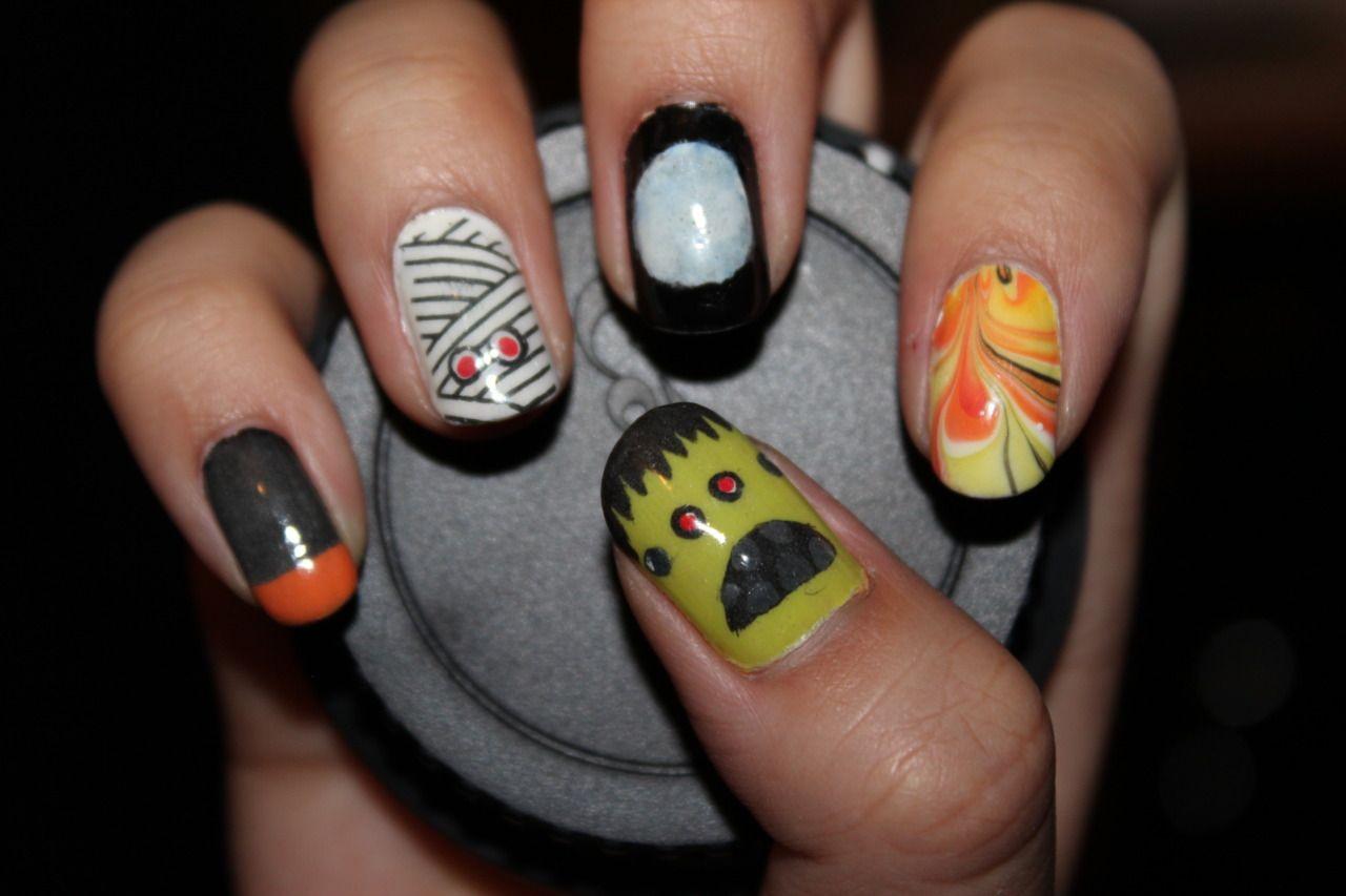 Halloween Nails I Like The Grey And Orange Nails Halloween Nail Designs Halloween Nails