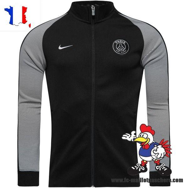 Nouveau Veste De Foot PSG NoirBlanc 2016 17 Offre Pas Cher