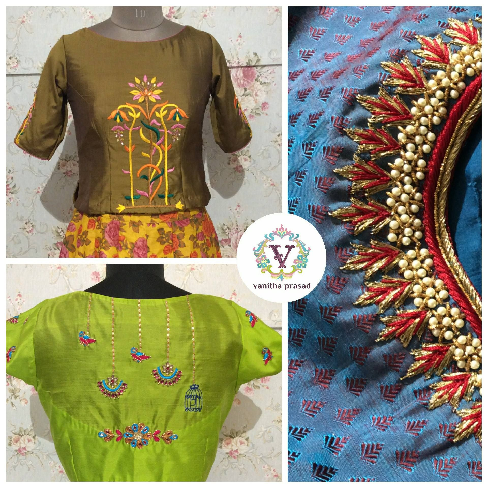 e59bc7185ea755 All about the details. Designer blouse with bird and cage design. 24 ...