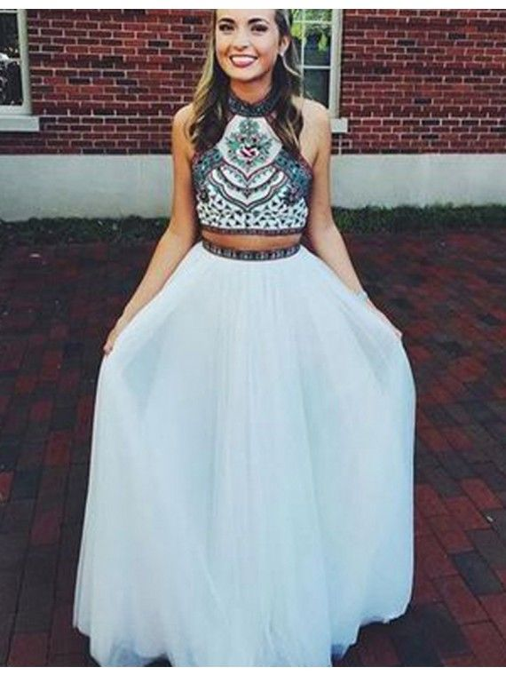 1755db983 Stunning Halter Open Back Long White Two Piece Prom Dress with Embroidery