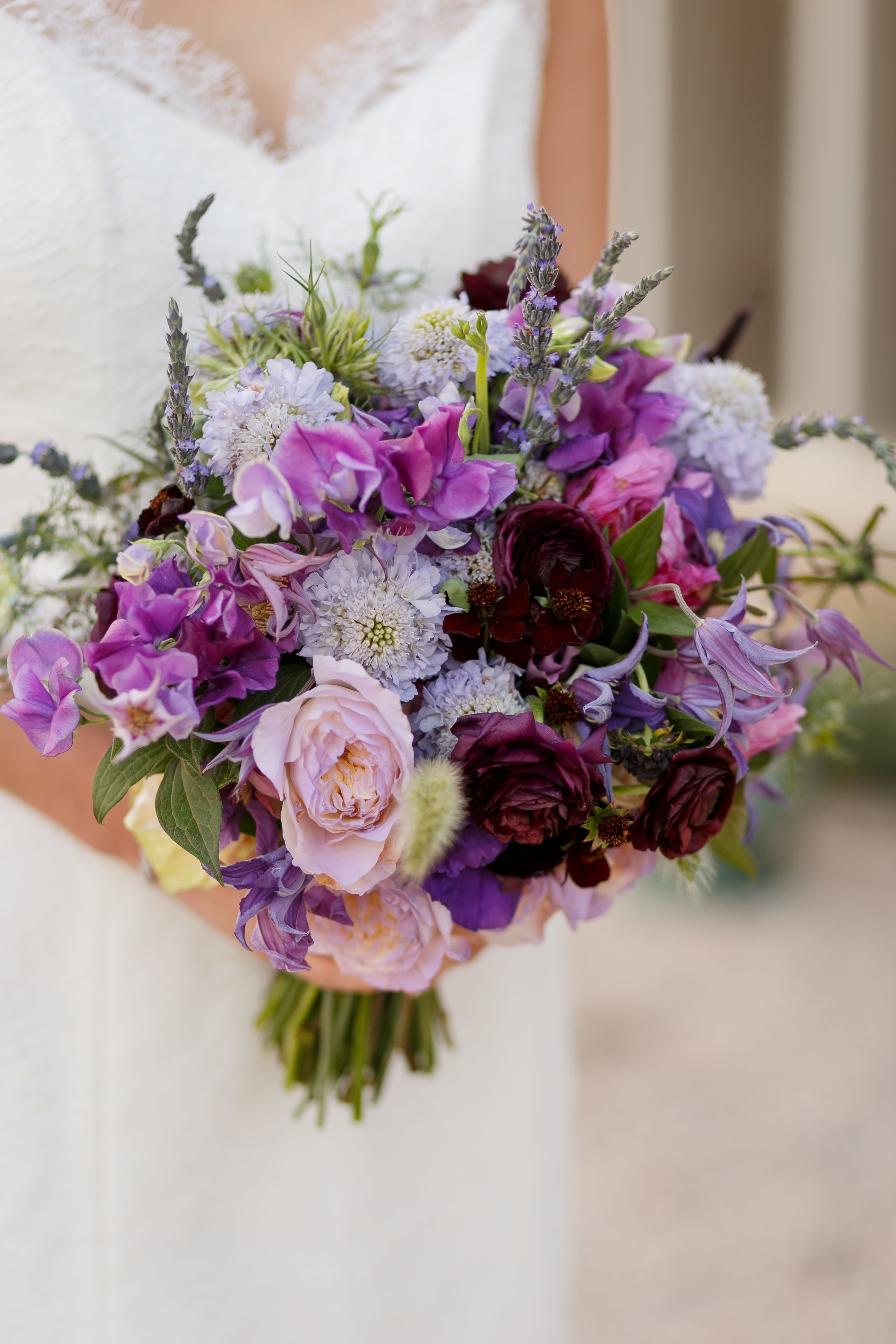 Purple Bouquet of Lavender, Bluebells and Wildflowers