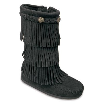 Minnetonka 3 Layer Fringe Boot(Infant/Toddler Girls') -Dusty Brown Suede
