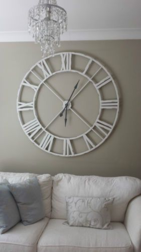 Superieur Extra Large Distressed White Metal Roman Numeral Clock