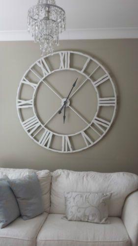 Extra Large Distressed White Metal Roman Numeral Clock Large Wall Clock Decor Clock Wall Decor Home Decor