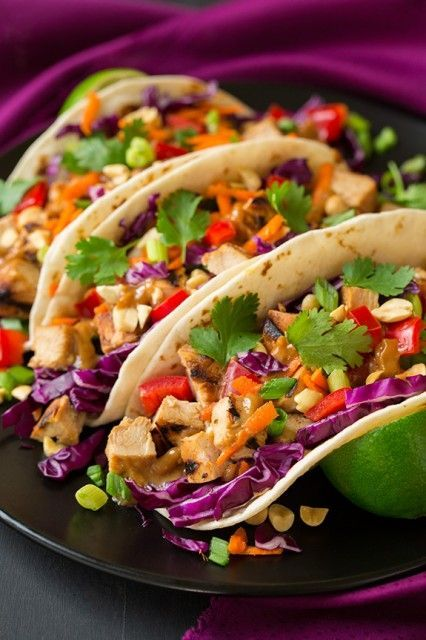 tacos don't always have to be Mexican flavors:  Thai Chicken Tacos with Peanut Sauce