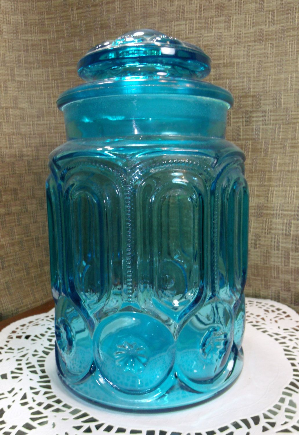 Colonial Blue LE Smith Moon & Stars Glass Sugar Canister ~ 9 1/2 ...