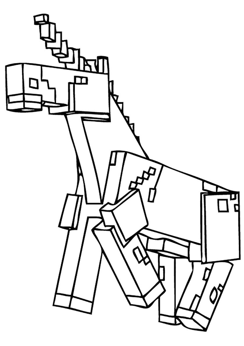 Unicorn High Quality Free Coloring From The Category Minecraft More Printable Pictures Unicorn Coloring Pages Coloring Pages Free Printable Coloring Pages