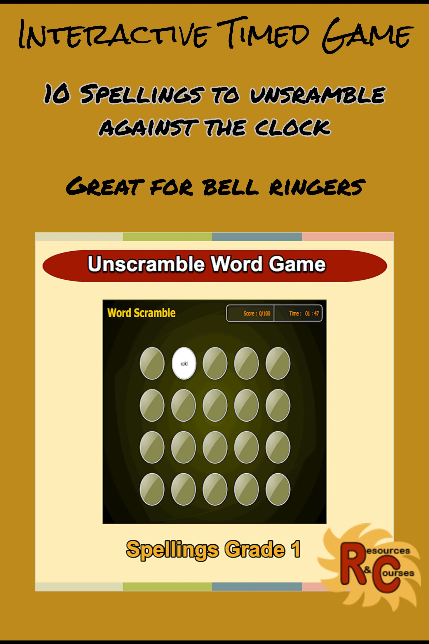 Grade 1 Spellings Word Scramble Game For Kids Unscramble