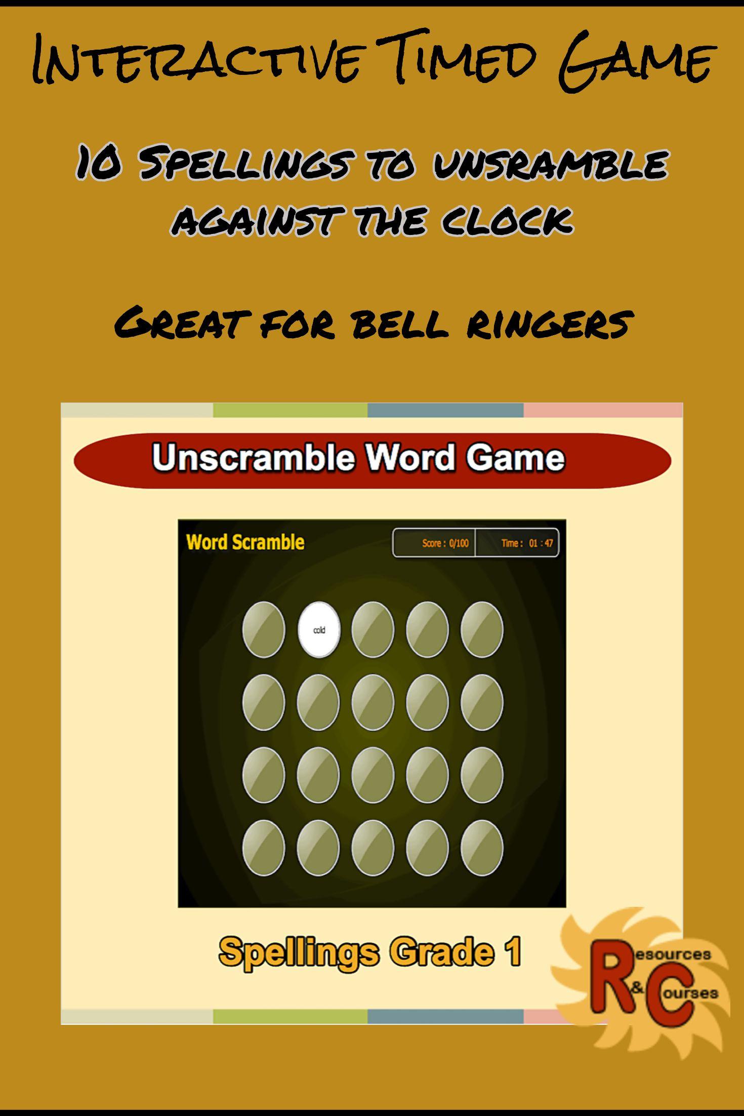 Grade 1 Spellings Word Scramble Game For Kids Unscramble