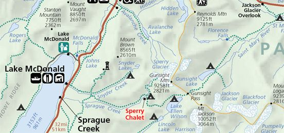 Map of trails to Sperry Chalet Glacier National Park trips