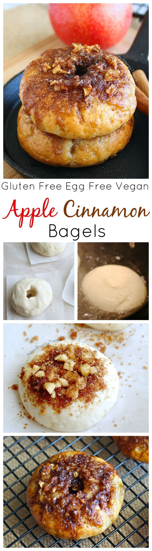 Gluten Free Cinnamon Apple Bagels (Vegan Egg Free