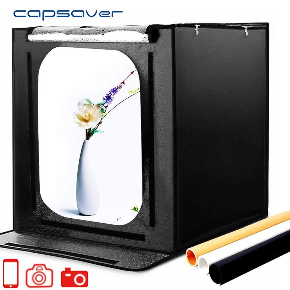 Capsaver F60 Portable Led Studio Photo Box Lightbox 60cm Folding Softbox 5500k Cri95 Led Light Tent Tabletop Photography Studio Portable Led Table Top Photography Softbox