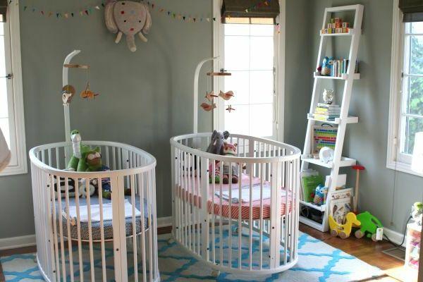babybett-komplettset-zwei-modele - weiße farbe - rundes babybett, Schlafzimmer