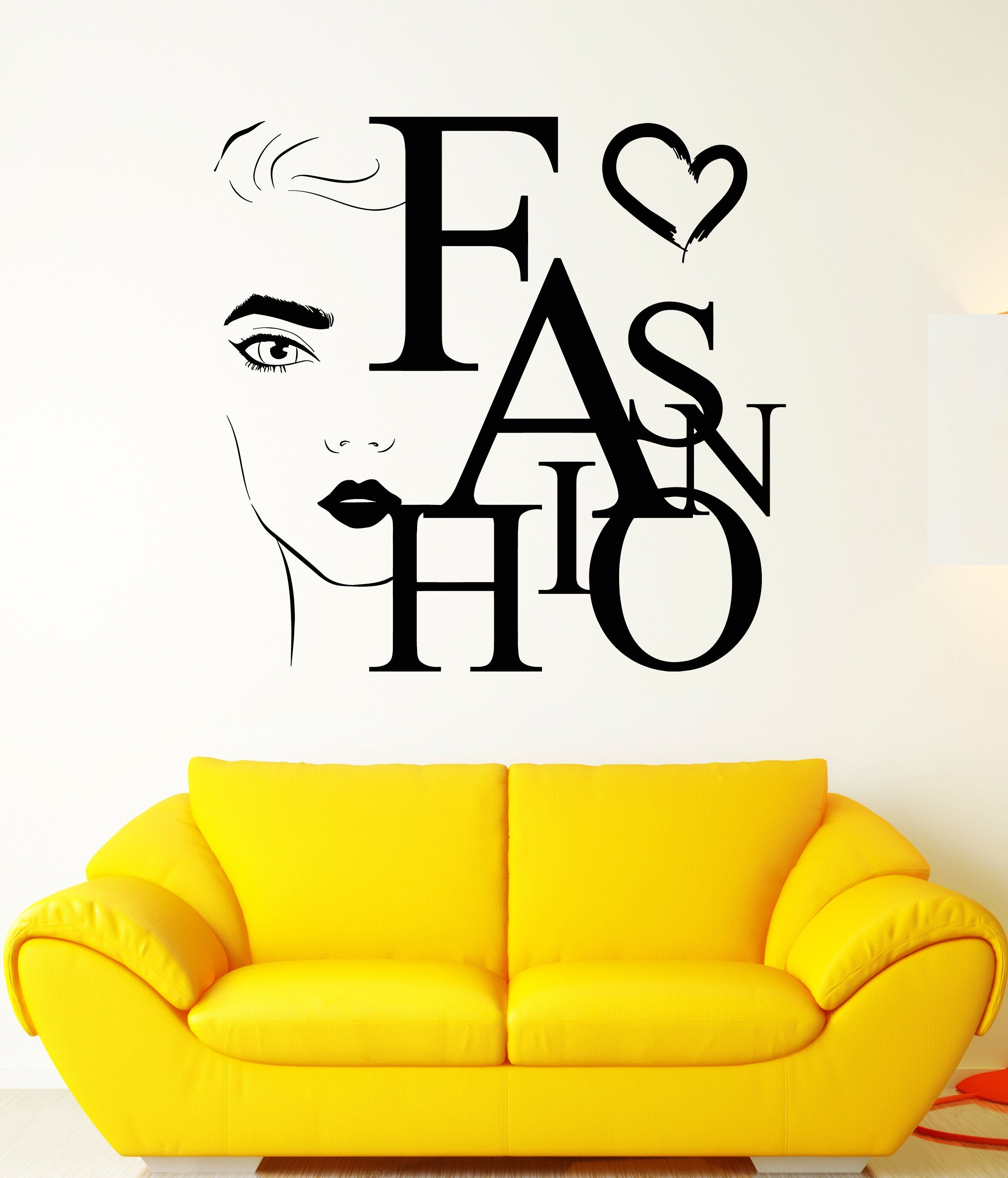 Vinyl Wall Decal Beauty Fashion Word Girl Face Salon Makeup Stickers ...