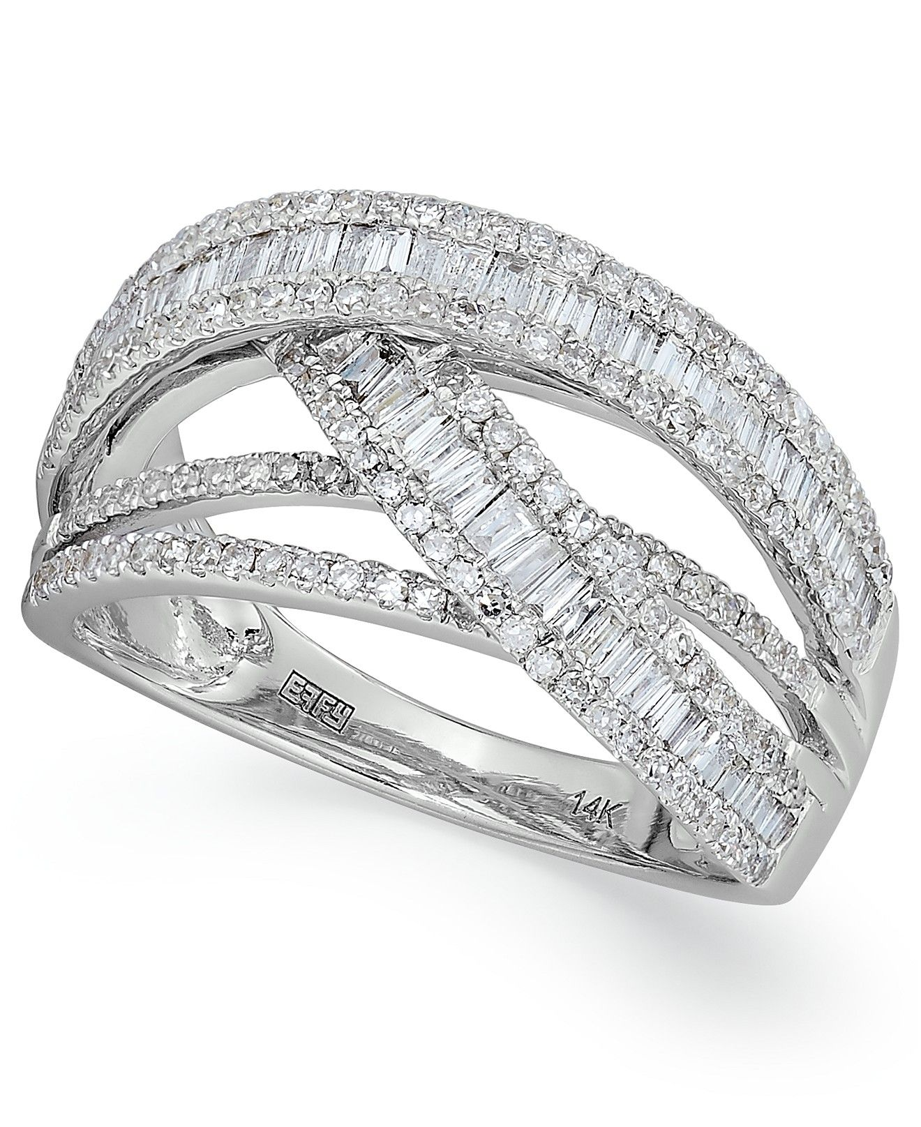 Classique By Effy Diamond Crossover Ring In 14k White Gold 1 Ct T W Rings Jewelry Watches Macy Crossover Diamond Ring Diamond Fine Diamond Jewelry