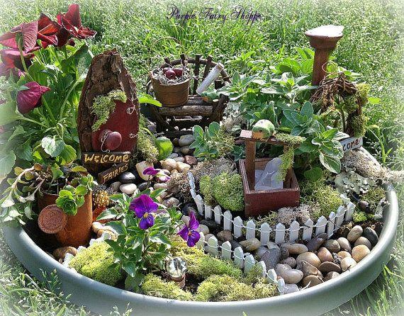 Lovely Rustic Fairy Garden Kit Fairy Garden Set By PurpleFairyShoppe, $49.99