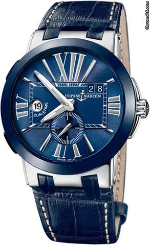 Ulysse Nardin Executive Dual Time $6,351 #UlysseNardin #watch #watches #chronograph Alligator Blue