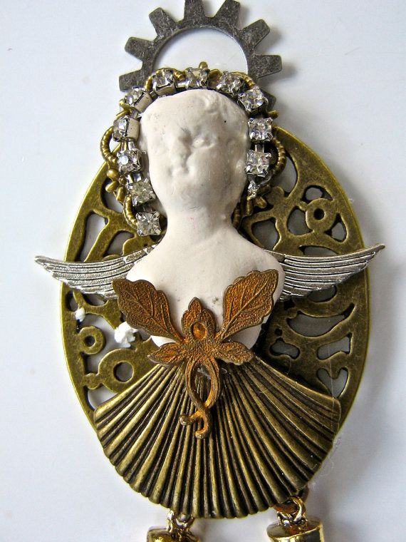 Steampunk Brooch  Steampunk Fairy with Frozen by pinkflamingo61, $55.00