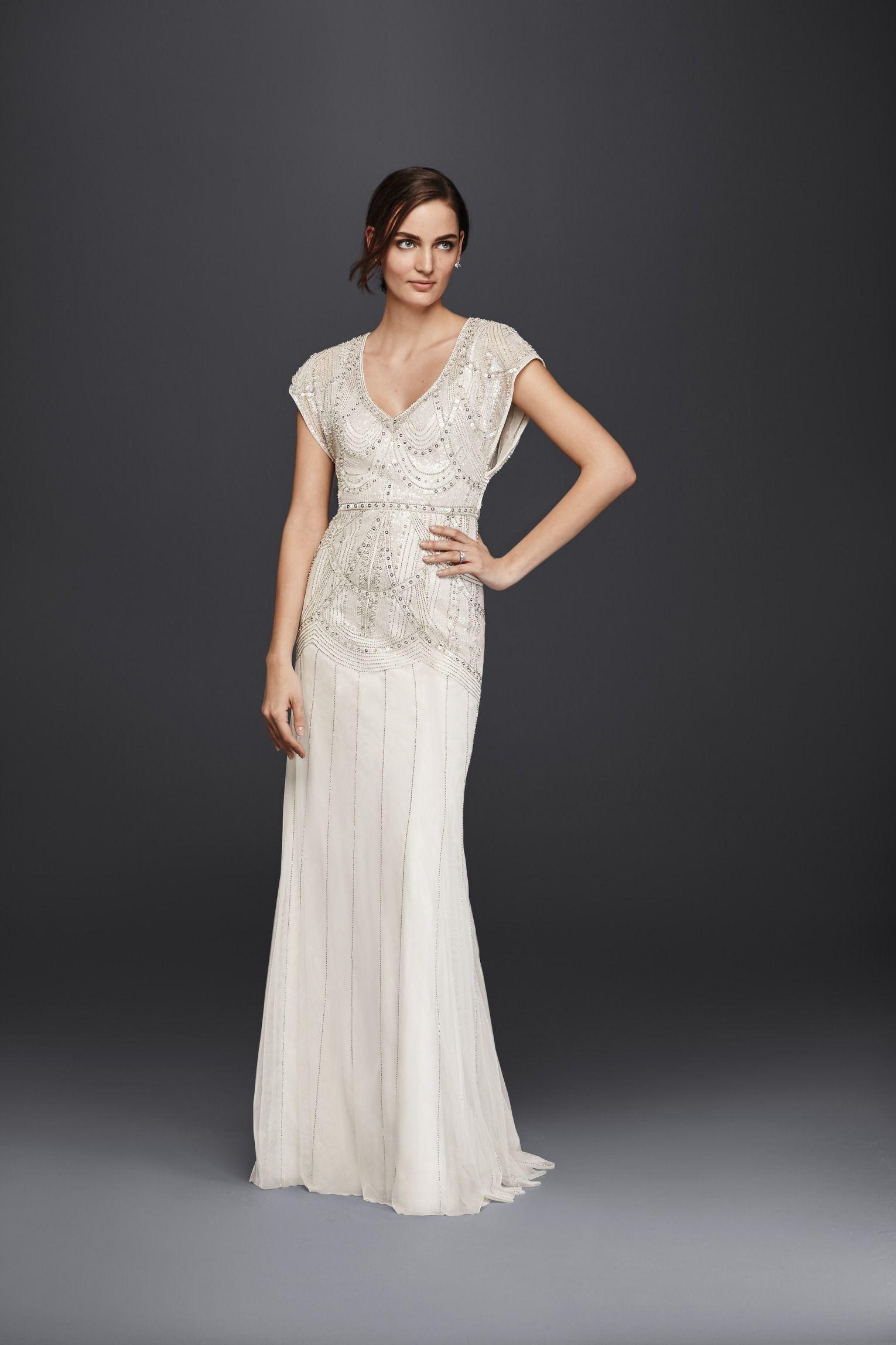 Beaded sheath wedding dress by Wonder by Jenny Packham  b0eff99551fa