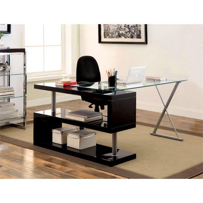 Furniture Of America Fiora Modern Swivel Computer Desk In Black In 2020 Furniture Home Office Furniture Home Office Space