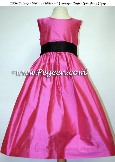 6fc36adfe HOT PINK SHOCK AND BLACK FLOWER GIRL DRESSES WITH BLACK SASH STYLE 398 by  Pegeen