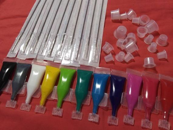 Photo of Stick n poke tattoo kit – 11 colors – Mom's brand Tattoo Ink – ink caps needles starter artists Chri – Homemade Tattoo 2020