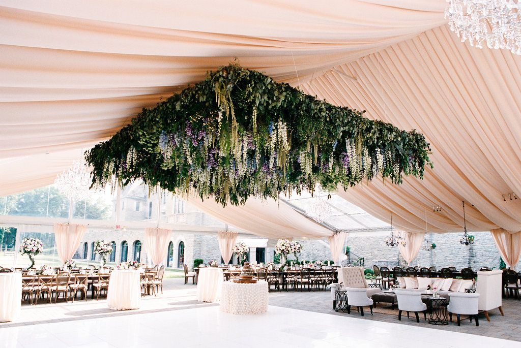 Wedding Reception Tent With Flower Canopy Ceiling Rustic