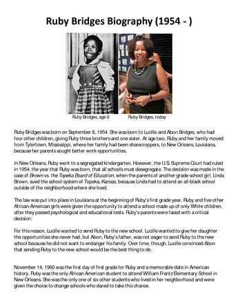 A Sample Poster To Use With The Ruby Bridges Lesson Social