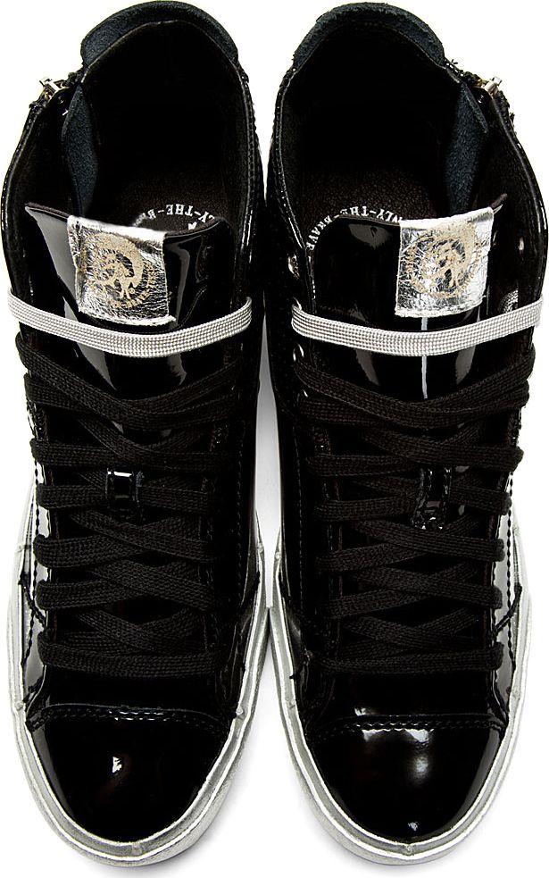 Diesel: Black Patent Leather D-Zippy Sneakers