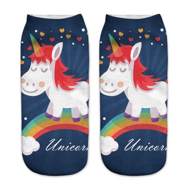 0094927ac16f emoji unicorn funny socks Hot Sale 3d Printed womens socks low cut ankle  short spaort socks